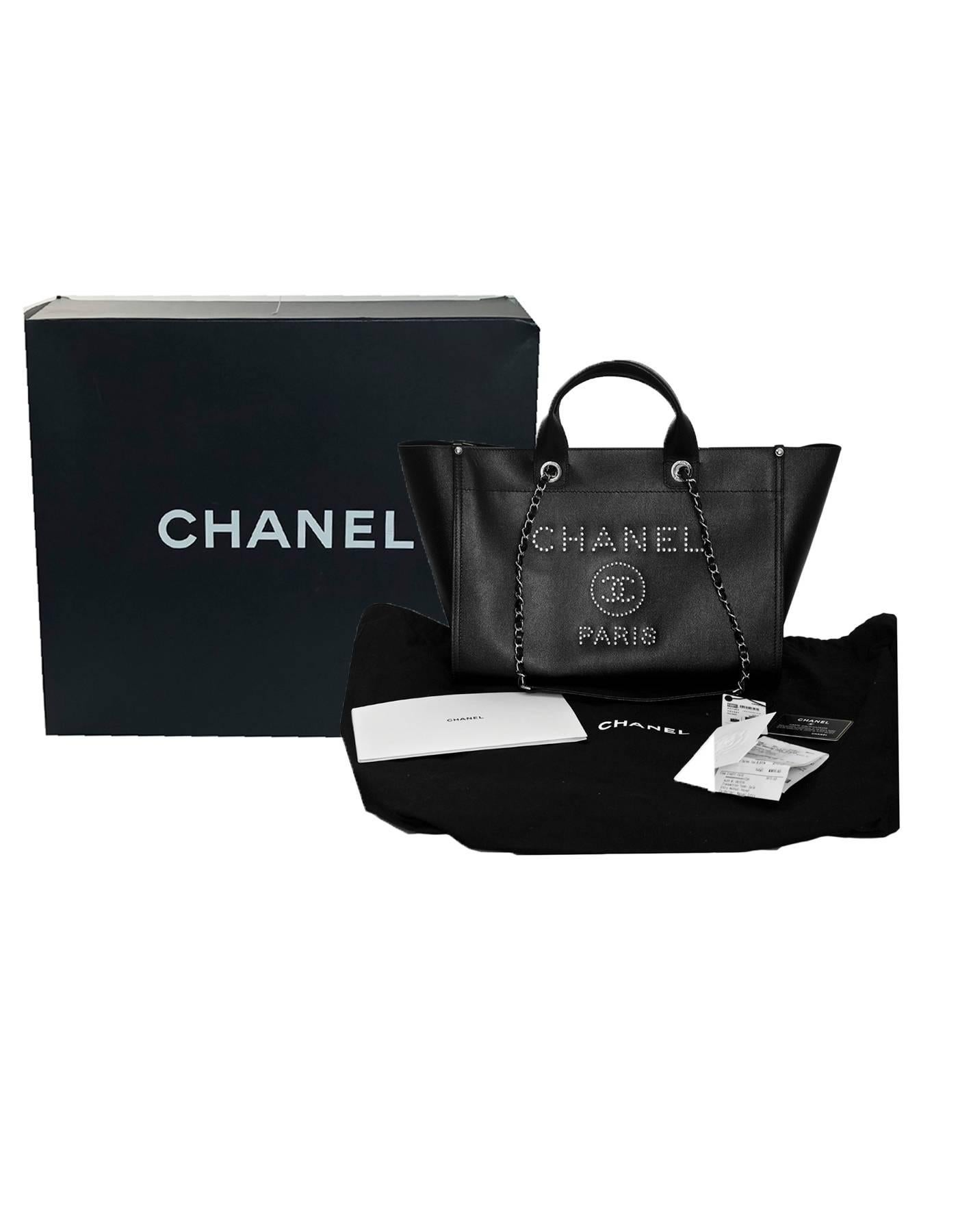 47a72e42299b Chanel Black Grained Calfskin Studded Medium Deauville Tote Bag, 2018 at  1stdibs