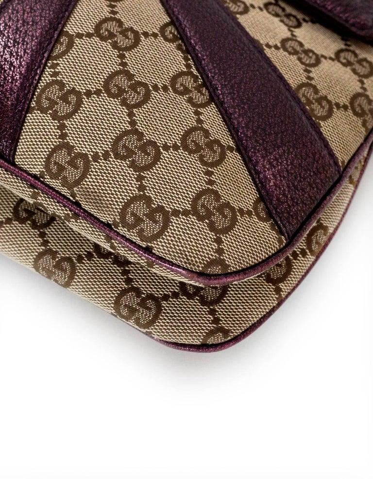 604a05ccb52 Women s Gucci Beige GG Canvas   Purple Leather Tom Ford Dragon Shoulder Bag  w. Dust