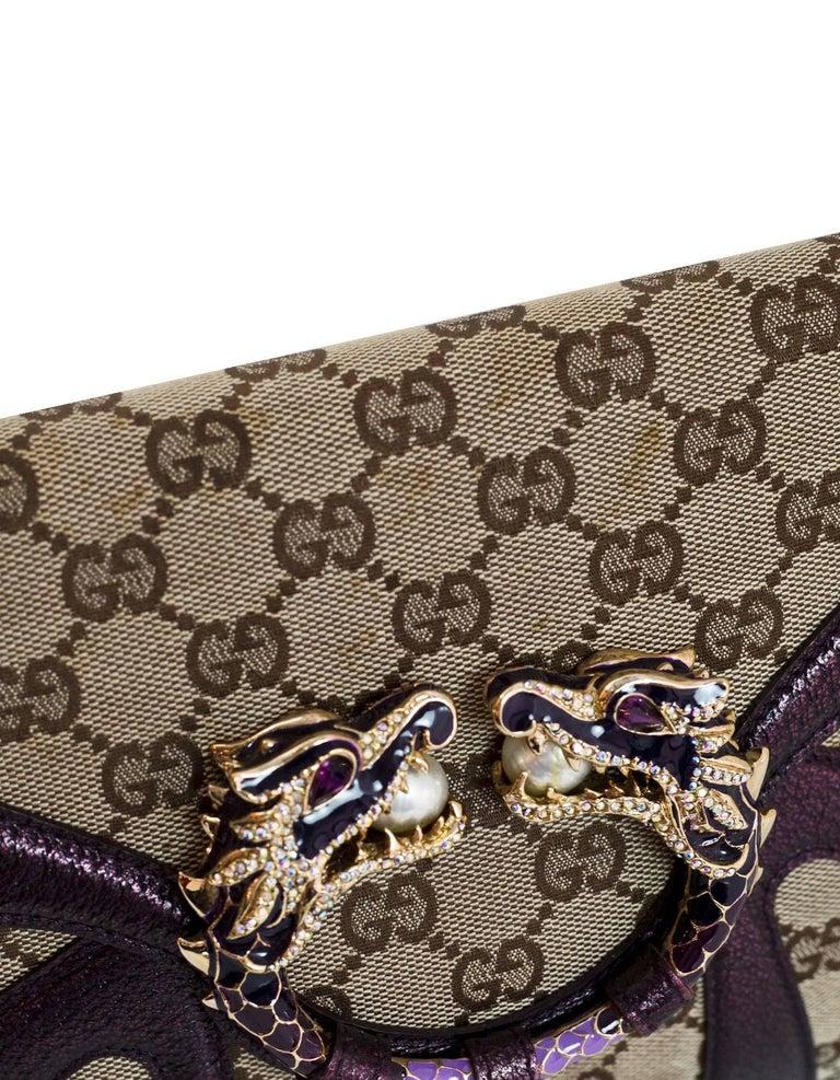 b5f6b4a0c84 Gucci Beige GG Canvas   Purple Leather Tom Ford Dragon Shoulder Bag w. Dust  Bag