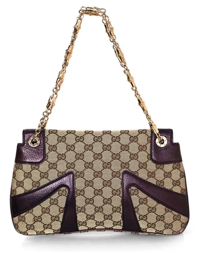 92048e42c51 Brown Gucci Beige GG Canvas   Purple Leather Tom Ford Dragon Shoulder Bag  w. Dust