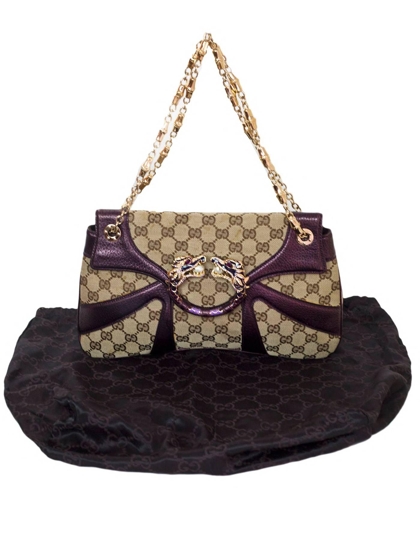 9be3f0f1cd7 Gucci Beige GG Canvas and Purple Leather Tom Ford Dragon Shoulder Bag w. Dust  Bag For Sale at 1stdibs