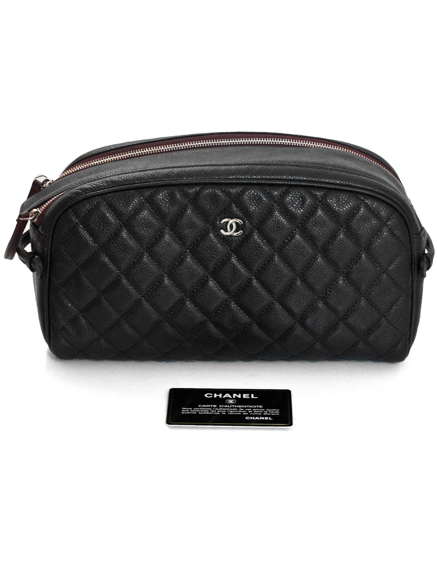 1035a7e927b0 Chanel Black Caviar Leather Double Zip Cosmetic / Toiletry Case Bag For Sale  at 1stdibs