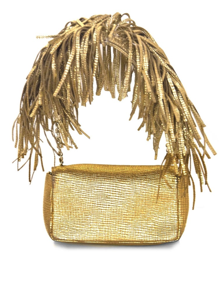 Christian Louboutin Gold Artemis Fringe Shoulder Bag w. Dust Bag In Excellent Condition For Sale In New York, NY