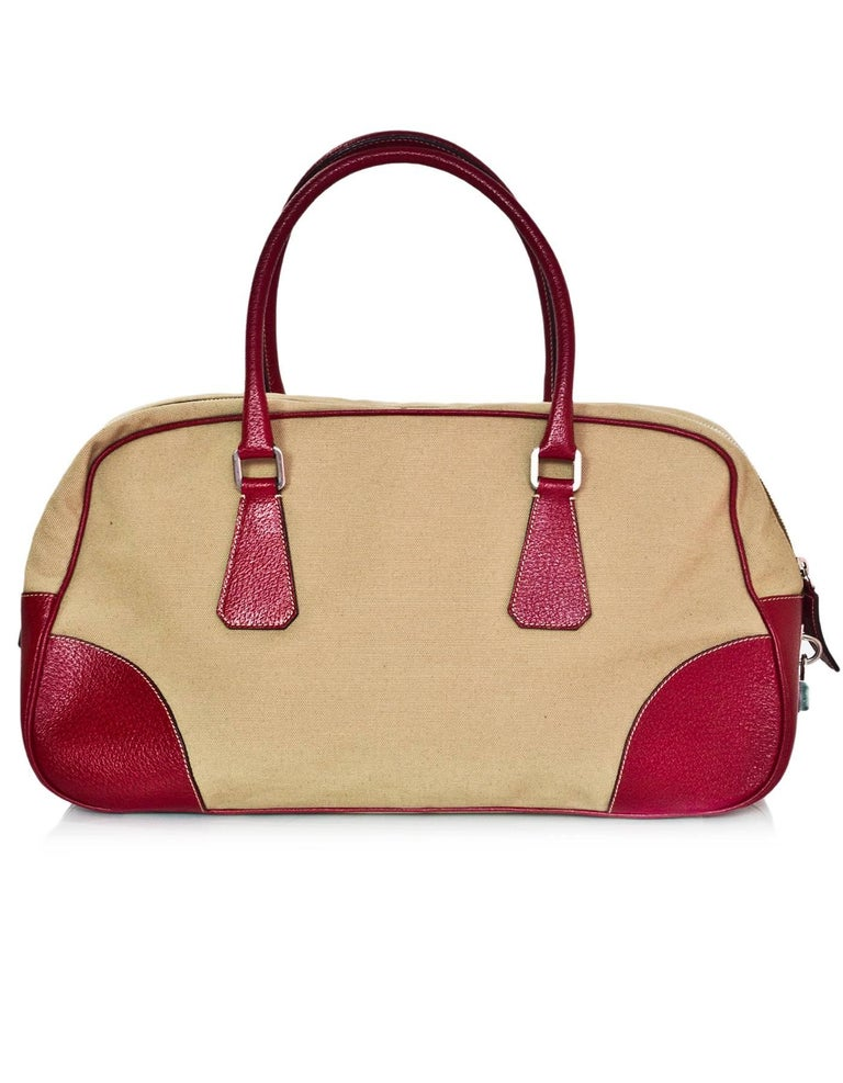 7599defd456faa Prada Russo Red Cinghi Leather & Beige Canapa Canvas Bowler Bag w. Dust Bag  In