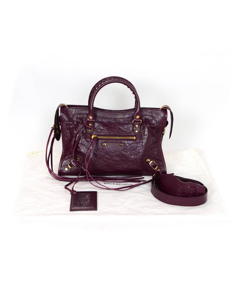 a4414cb0b69 Balenciaga '16 Burgundy Distressed Leather Classic City S Small Crossbody  Bag For Sale 4