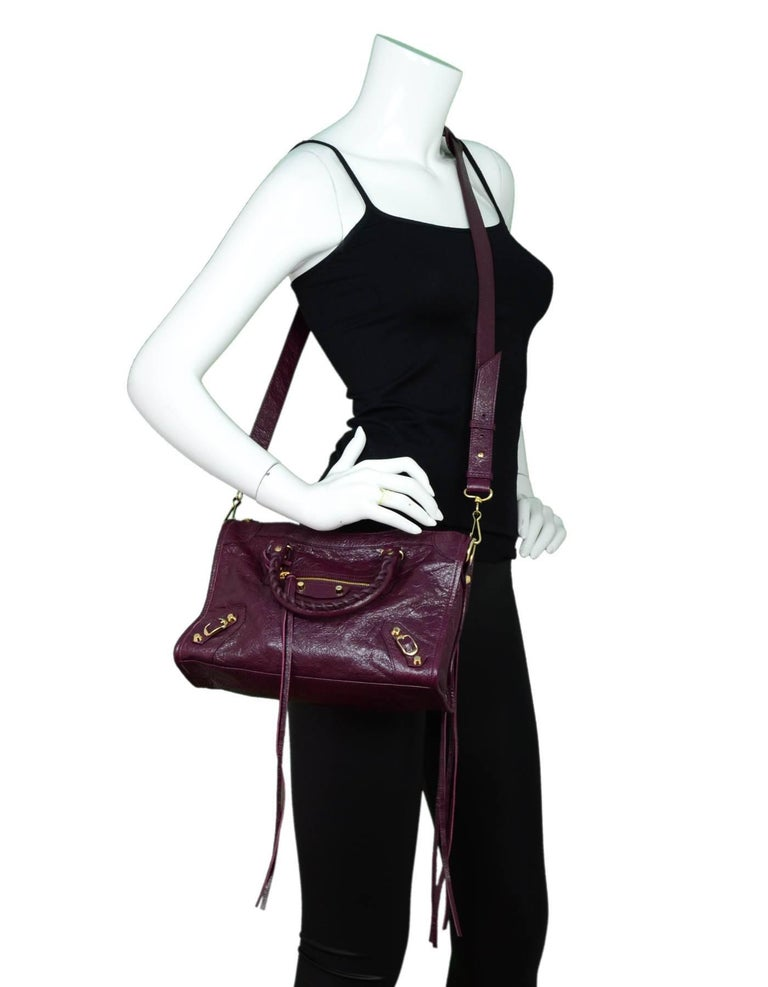 c041bb03d4e ... Small Crossbody Bag For Sale. Balenciaga Burgundy Distressed Leather  Classic City Satchel Made In: Italy Year Of Production: 2016