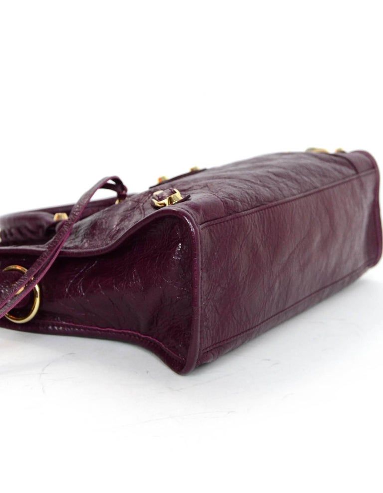 ef233562748 Balenciaga '16 Burgundy Distressed Leather Classic City S Small Crossbody  Bag In Excellent Condition For