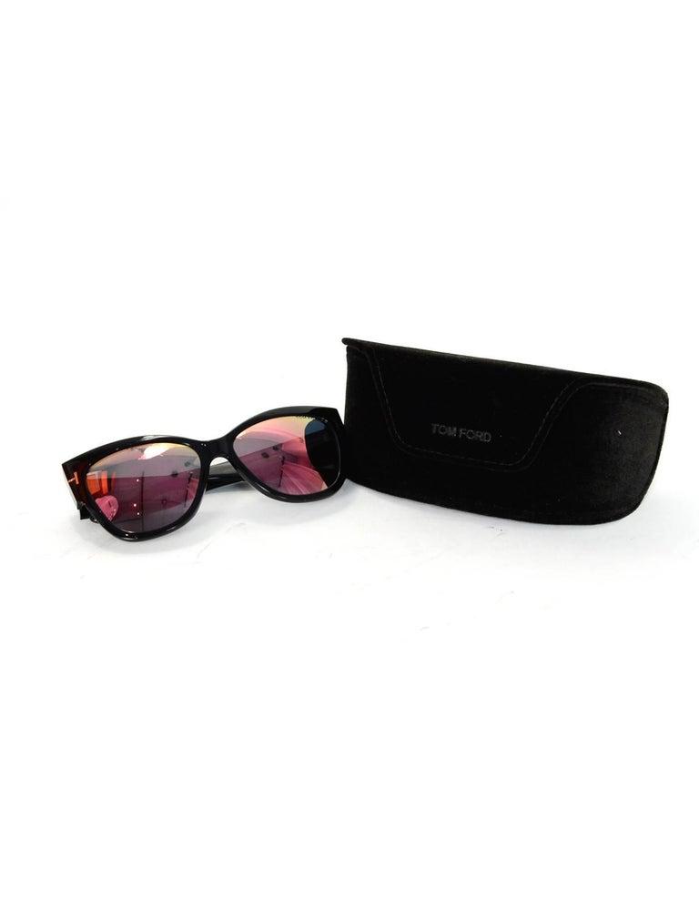 Tom Ford Black Anoushka Cat-Eye Mirrored Lens Sunglasses with Case rt. $445 For Sale 4