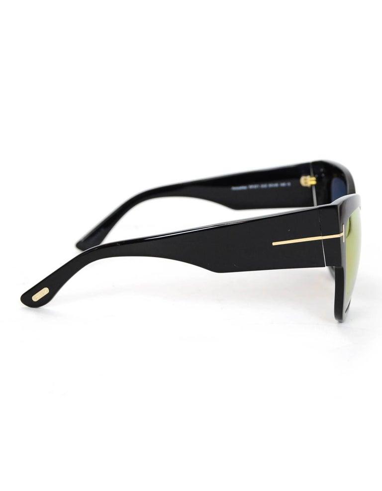 Women's Tom Ford Black Anoushka Cat-Eye Mirrored Lens Sunglasses with Case rt. $445 For Sale