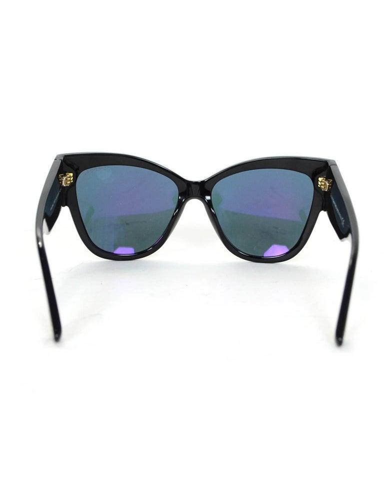 Tom Ford Black Anoushka Cat-Eye Mirrored Lens Sunglasses with Case rt. $445 For Sale 1