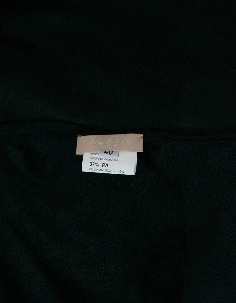 Women's Alaia Green Velvet Fit & Flare Dress Sz FR40 For Sale