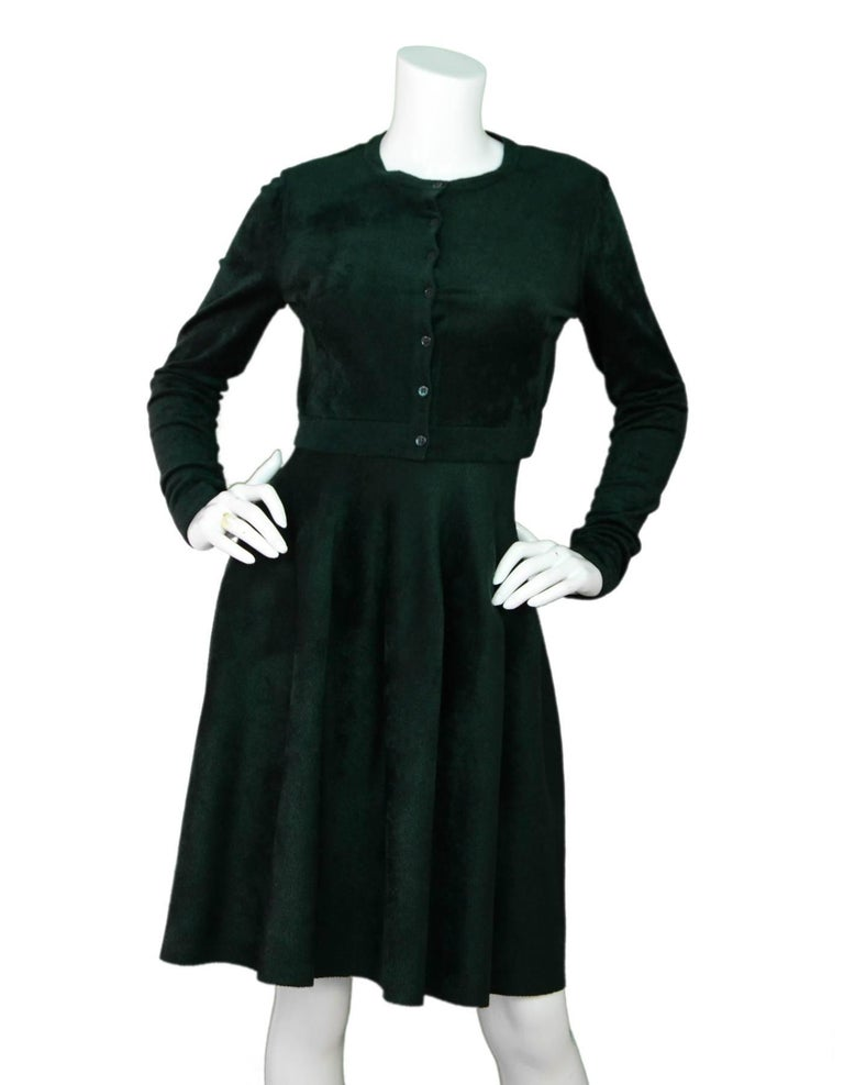 Alaia Green Velvet Fit & Flare Dress Sz FR40 In Excellent Condition For Sale In New York, NY