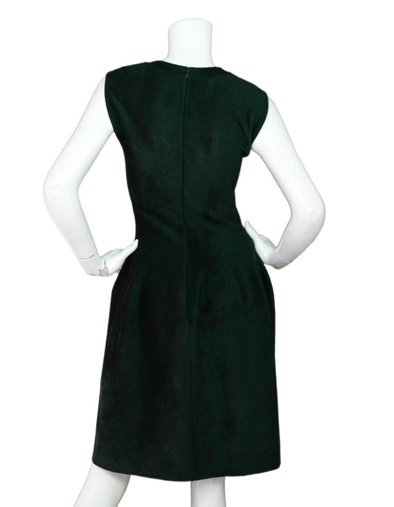 Black Alaia Green Velvet Fit & Flare Dress Sz FR40 For Sale