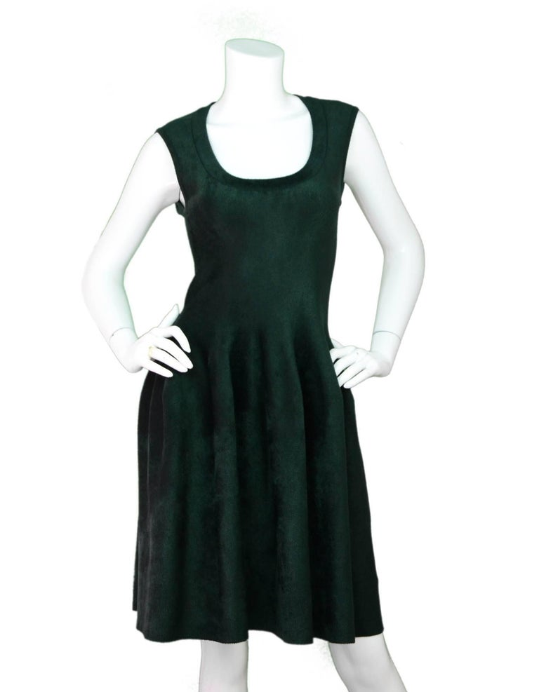Alaia Green Velvet Fit & Flare Dress Sz FR40  Made in: Italy Color: Green Composition: 63% viscose, 37% nylon Lining: None Closure/Opening: Back center zip up Exterior Pockets: None Interior Pockets: None Overall Condition: Excellent pre-owned