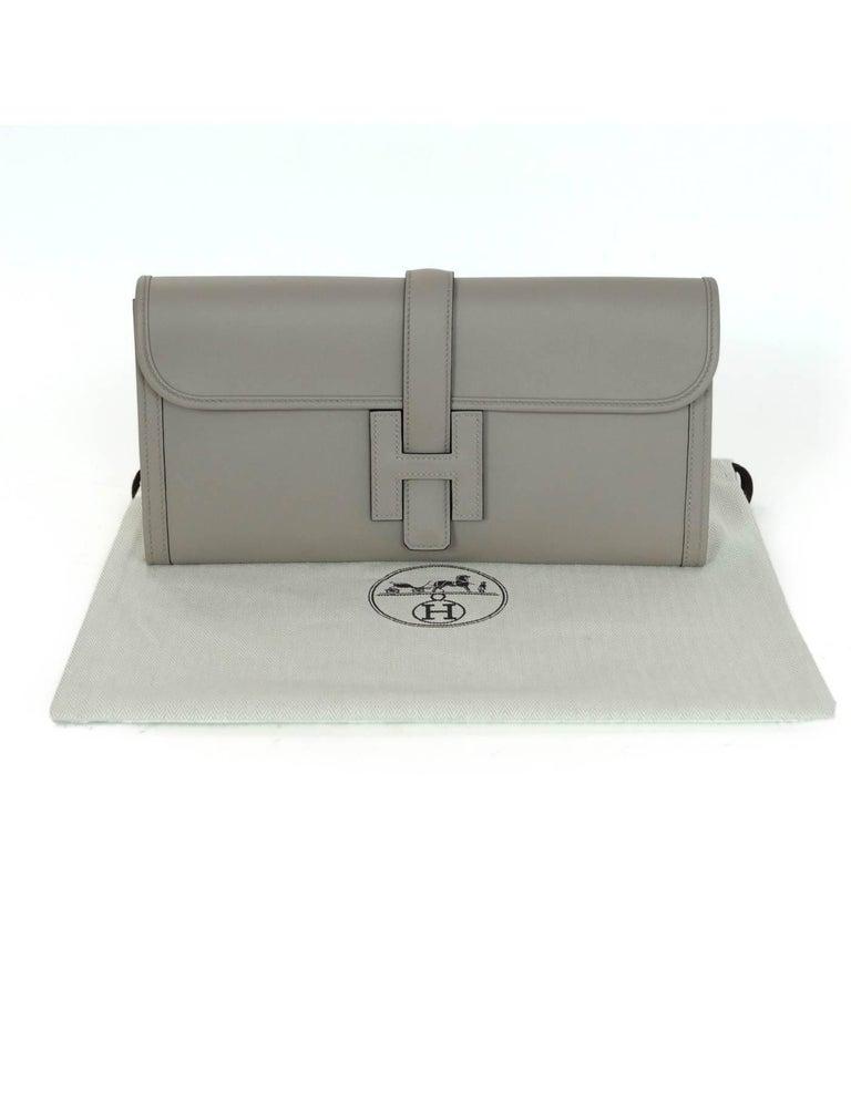 Hermes 2017 Grey Swift Leather Jige Elan 29 H Clutch Bag  For Sale 4