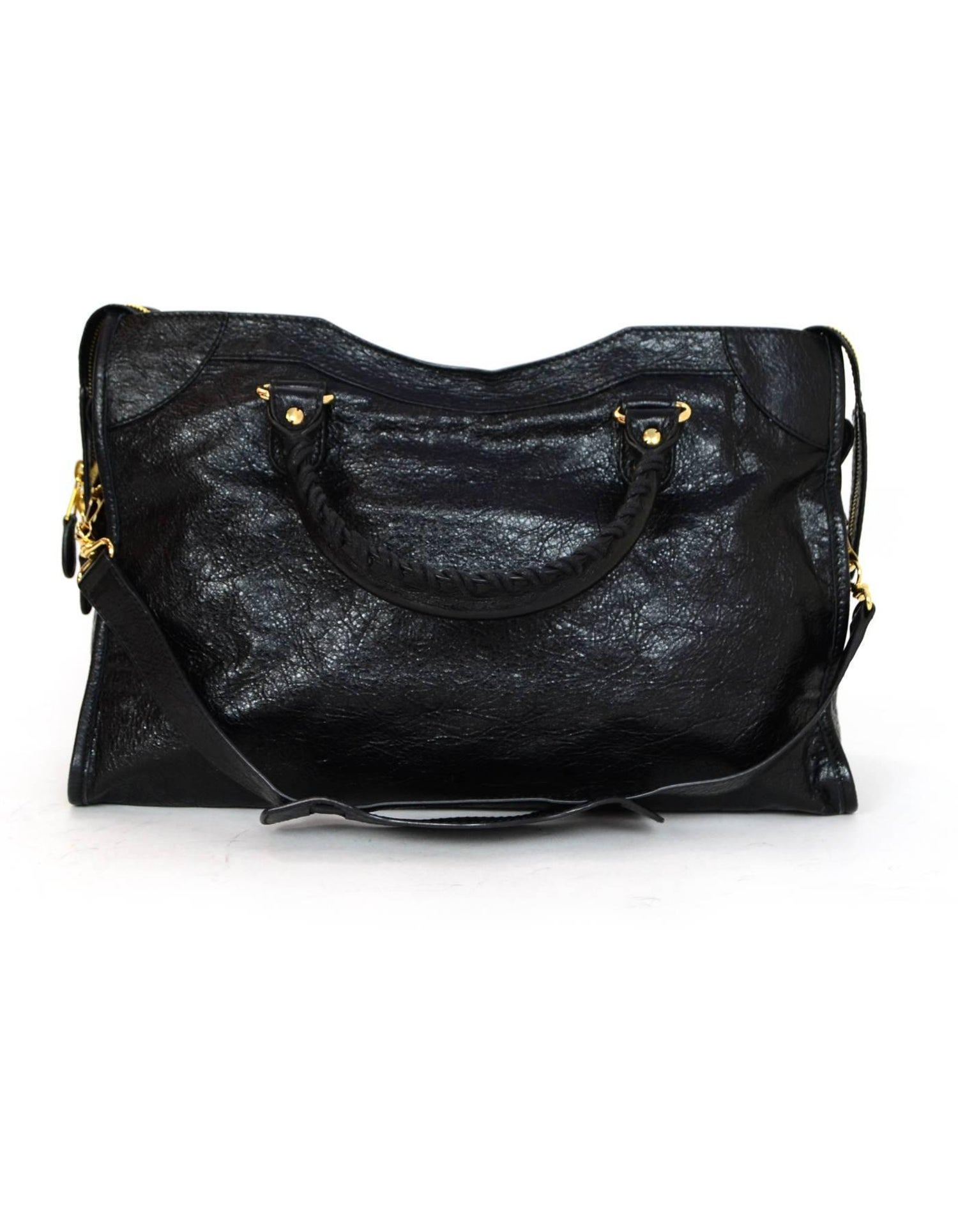 1d8d6c5437 Balenciaga Black Distressed Leather Giant 12 City Moto Satchel Bag For Sale  at 1stdibs