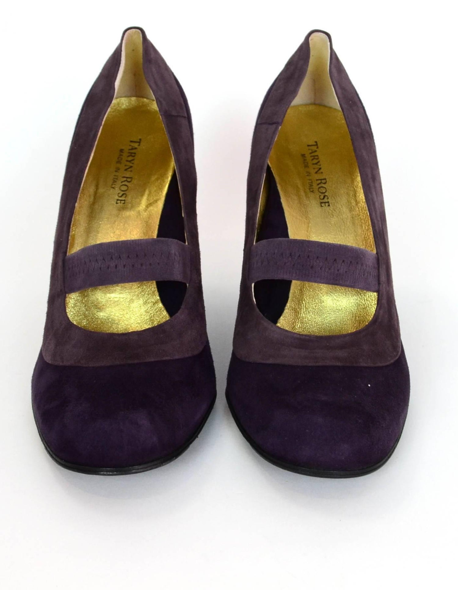 495b8b5cda7c Taryn Rose Purple Tri-Color Suede Mary Jane Wedges Sz 41 NIB For Sale at  1stdibs