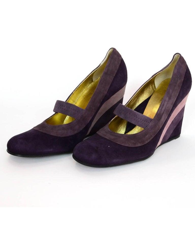 b4e81a73978d Taryn Rose Purple Tri-Color Suede Mary Jane Wedges Sz 41 NIB Made In