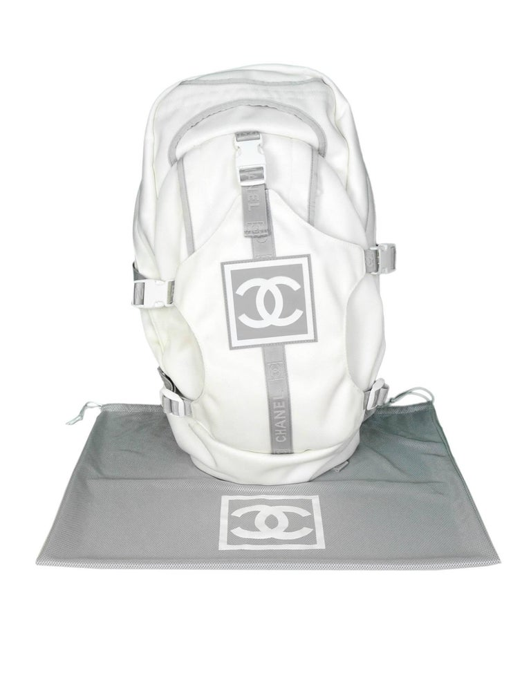 39bd309af Chanel Sport White Canvas CC Backpack Bag with Dust Bag For Sale 5