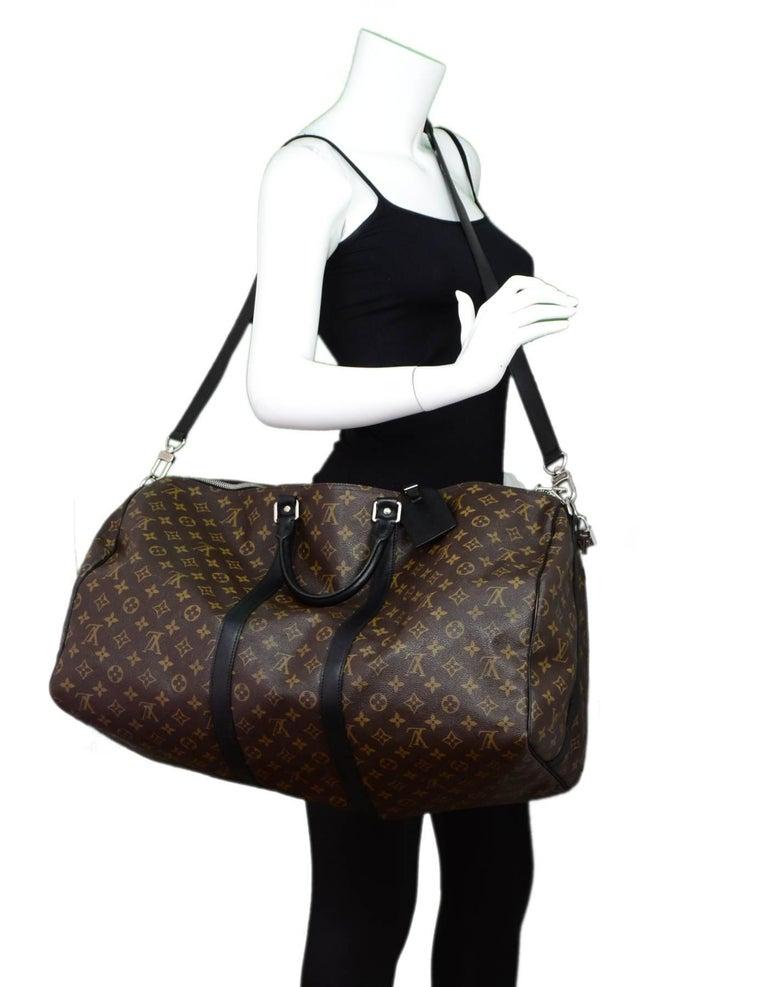 88bdb787fe8f Louis Vuitton Monogram Macassar Keepall Bandouliere 55 Features adjustable  shoulder crossbody strap Made In