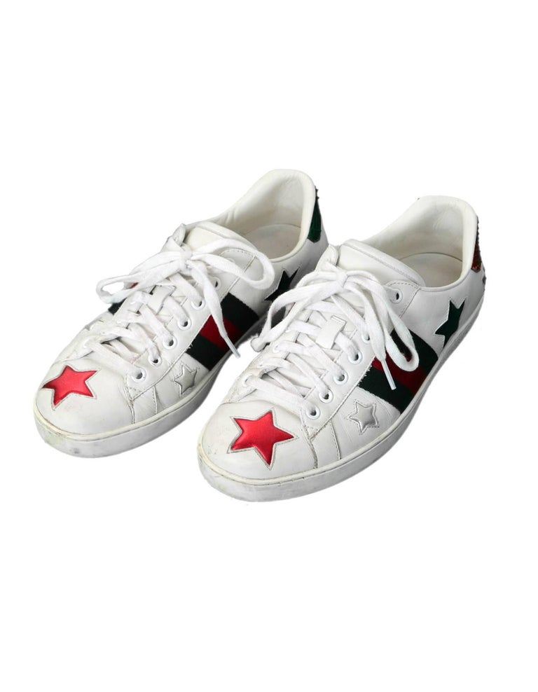 5eb3a912daae Gucci Men s Ace White Leather   Metallic Star Sneakers Sz 7.5 Made In   Italy Color