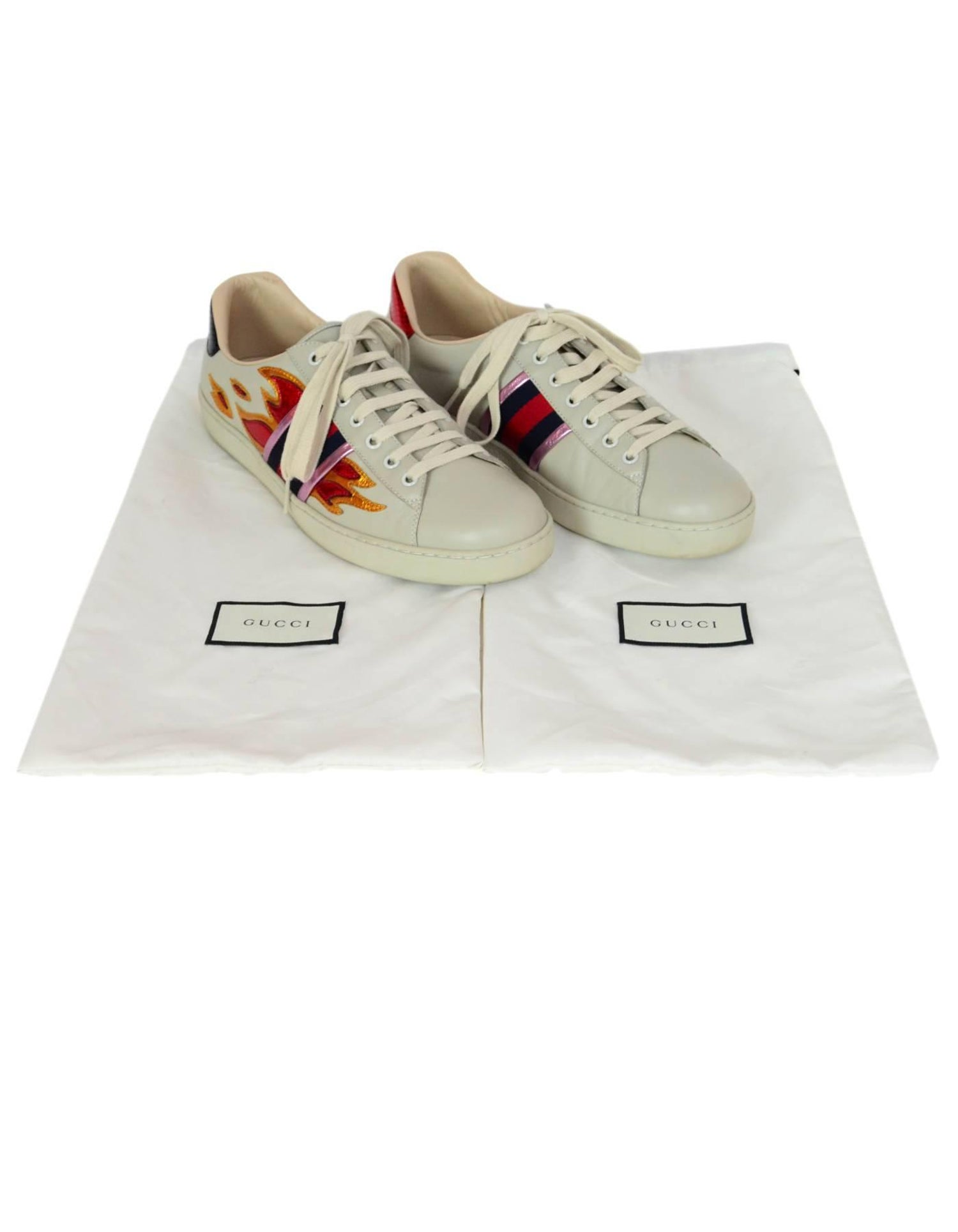 ac581962139 Gucci Men s Ace Off White Leather Flame Sneakers Sz 10 with DB at 1stdibs