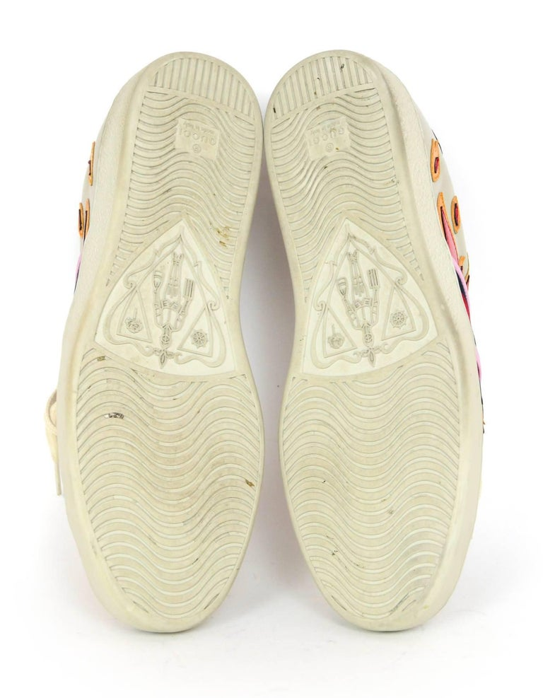dc564256764 Gucci Men s Ace Off White Leather Flame Sneakers Sz 10 with DB For Sale 2