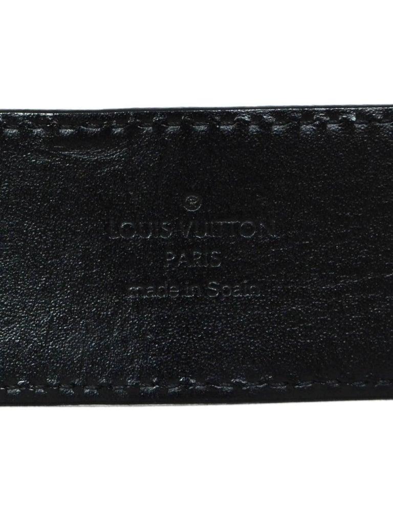 Louis Vuitton Carbone Black Suede Mini Damier LV Initials Belt Sz 100 For Sale 3