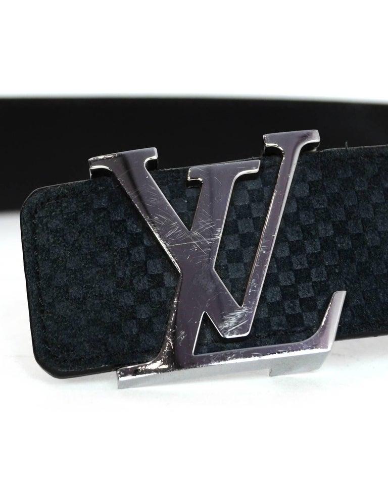 Louis Vuitton Carbone Black Suede Mini Damier LV Initials Belt Sz 100 For Sale 1