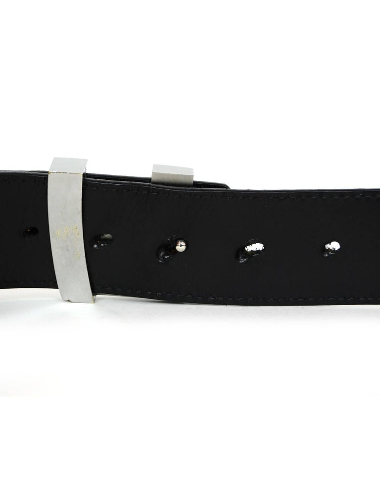 Louis Vuitton Carbone Black Suede Mini Damier LV Initials Belt Sz 100 For Sale 2