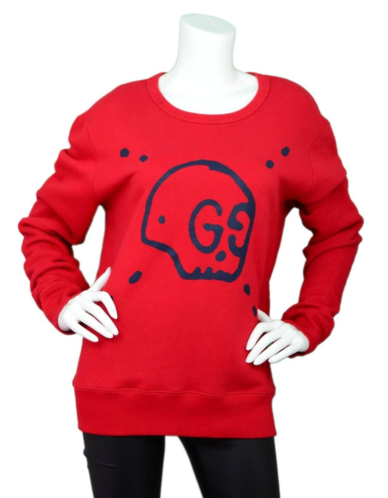 Gucci Men's Red GucciGhost Sweatshirt Sz L  Made In: Italy Color: Red, navy Composition: 100% cotton Lining: None Closure/Opening: Pull over  Exterior Pockets: None Interior Pockets: None Retail Price: $780 + tax Overall Condition: Excellent