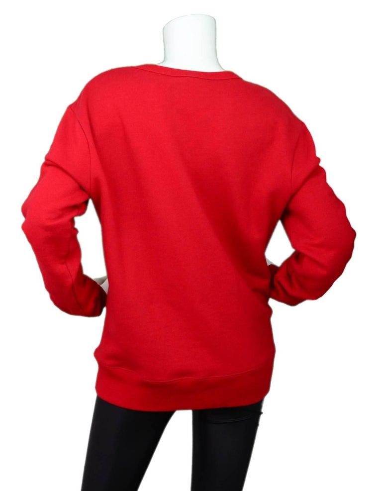 Gucci Men's Red GucciGhost Sweatshirt Sz L In Excellent Condition For Sale In New York, NY