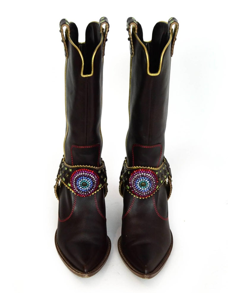 Black Giuseppe Zanotti Brown & Green Crystal Boots Sz 37 For Sale