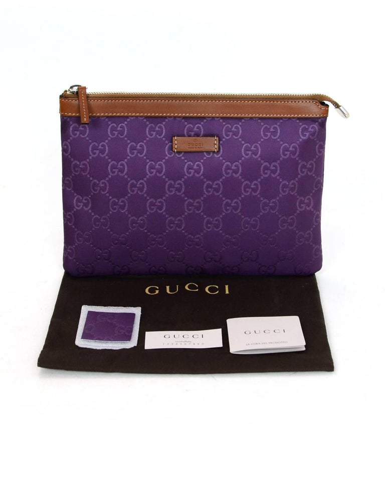 cd64dde41df Gucci Purple Canvas Monogram Cosmetic Case Clutch Bag w. Dust Bag For Sale 4