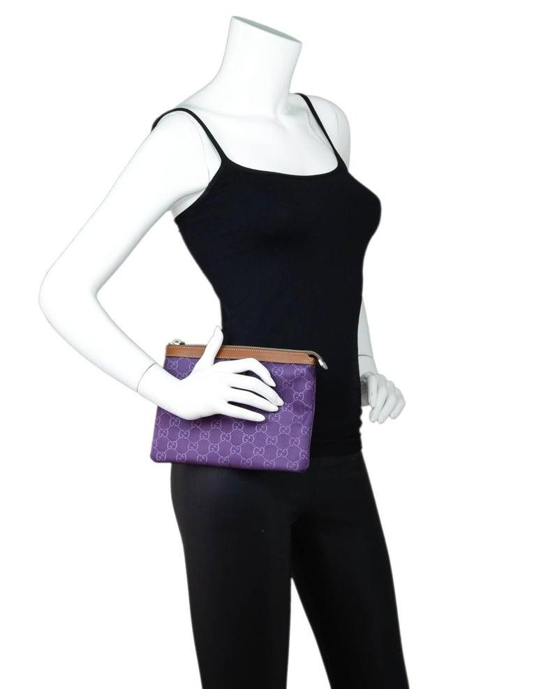 9de74335ecb Dust Bag For Sale. Gucci Purple Canvas Monogram Cosmetic Case Clutch Made  In  Italy Color  Purple