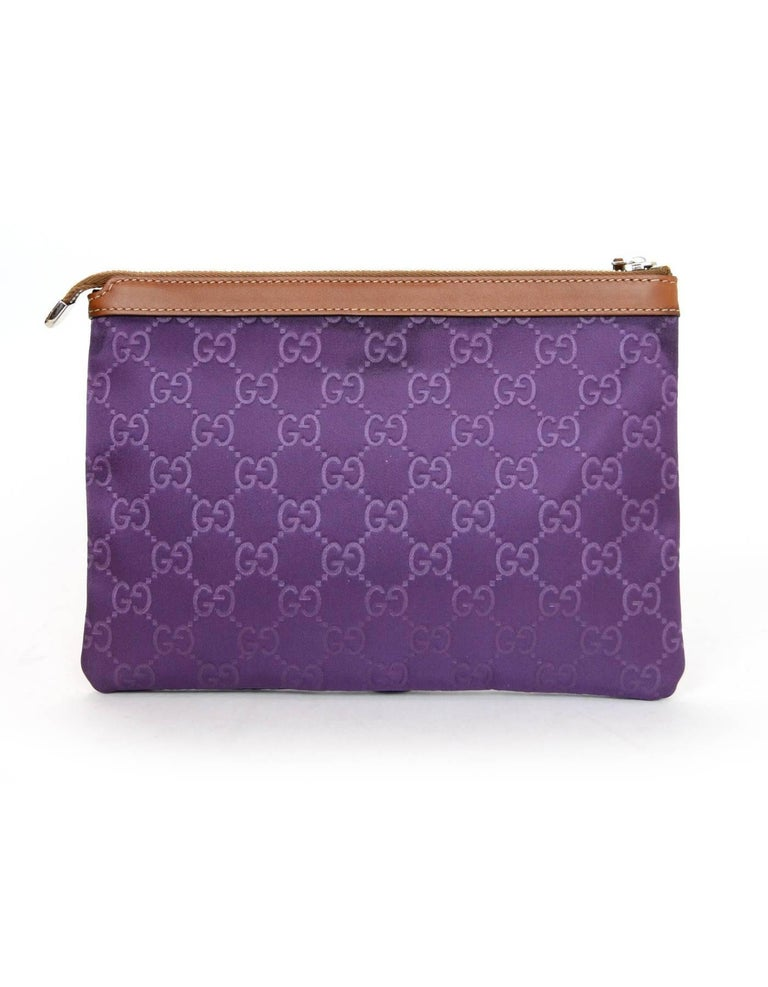 5bf035a302b Gray Gucci Purple Canvas Monogram Cosmetic Case Clutch Bag w. Dust Bag For  Sale