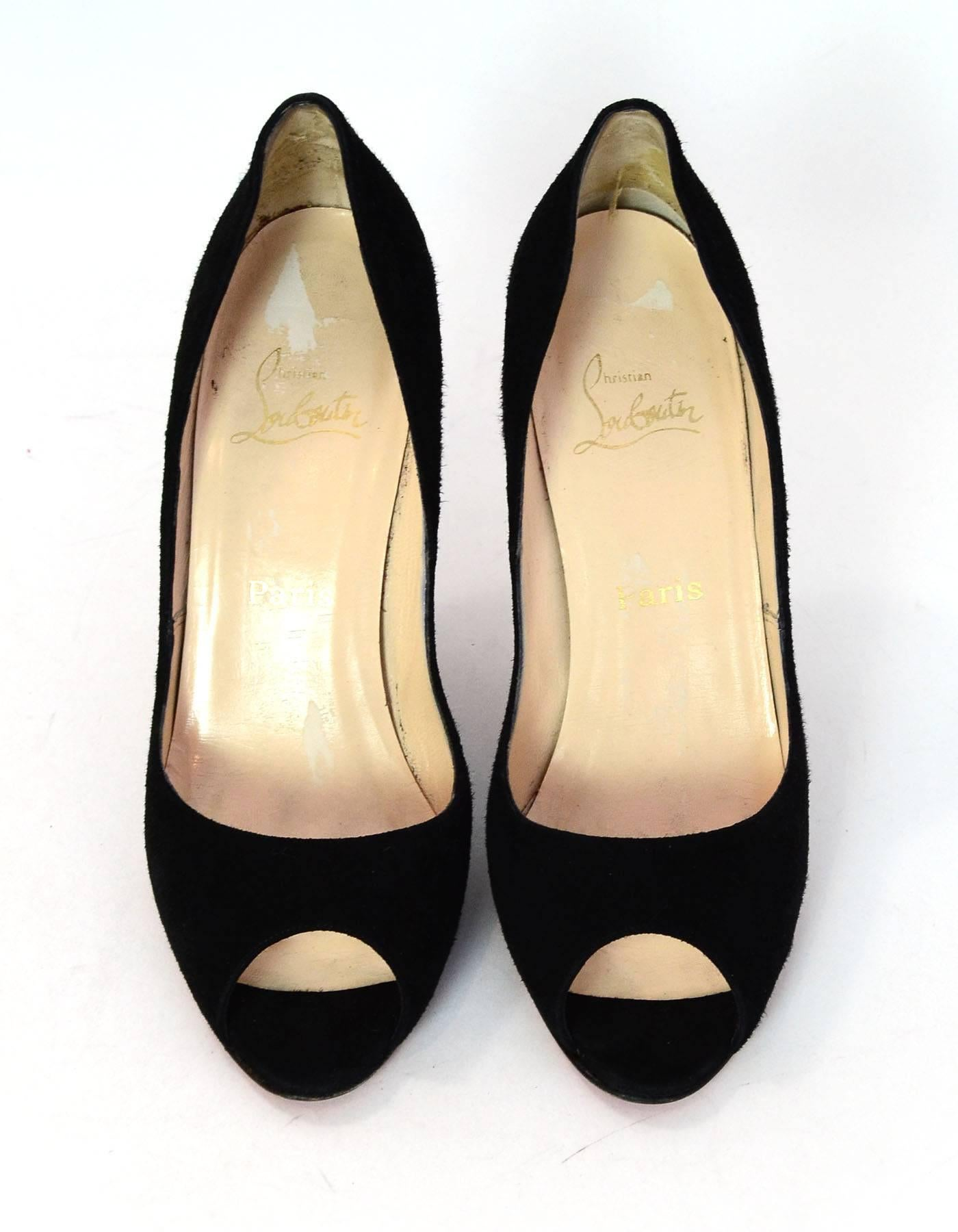 5eb9c02d9ea9 ... closeout 6 12 christian louboutin black suede peep toe pumps sz 41 with  db at 1stdibs