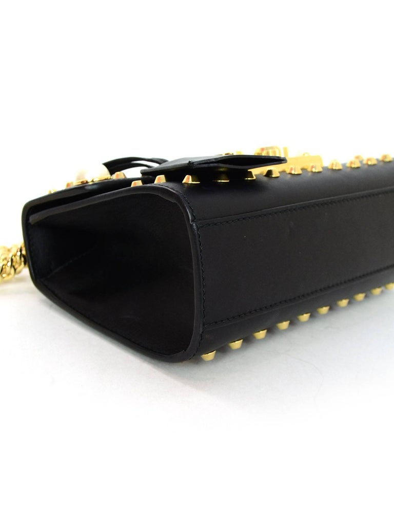Gucci Black Leather & Faux Pearl Studded Padlock Shoulder Bag W. Dust Bag cEWgrq
