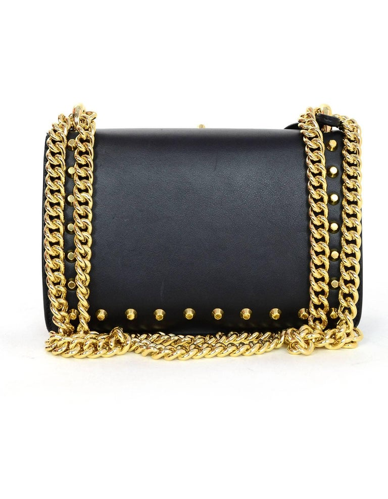 Gucci Black Leather & Faux Pearl Studded Padlock Shoulder Bag W. Dust Bag cdWgy