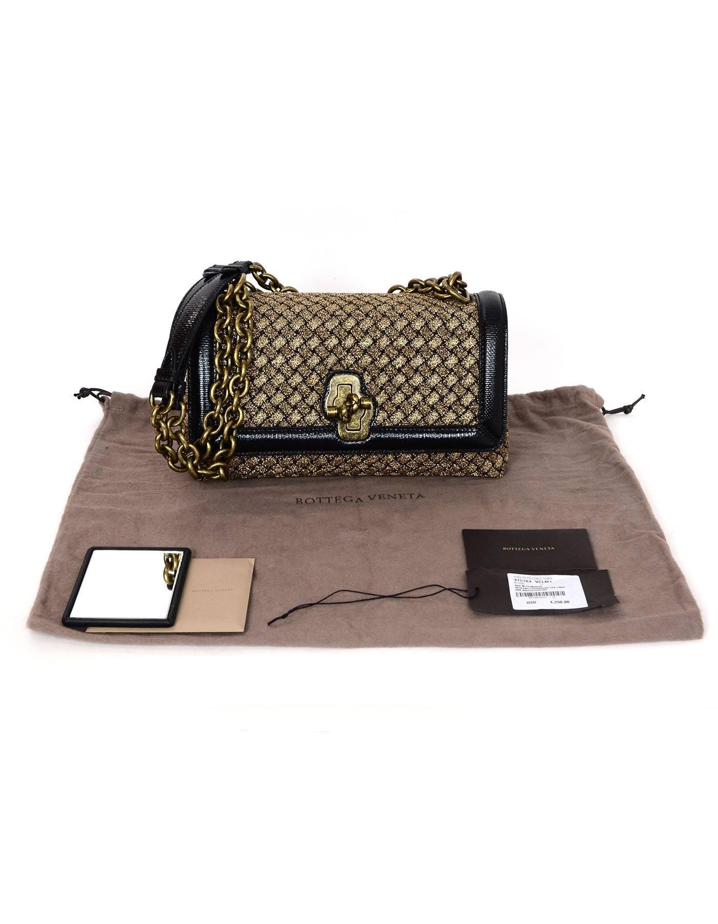98b6e837e886 Bottega Veneta NEW 2018 Gold Black Intrecciato Woven Olimpia Knot Bag For  Sale at 1stdibs