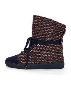 Chanel Red & Blue Tweed Cap-Toe Sneaker Boots Sz 38