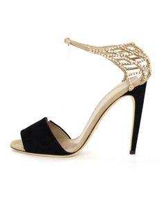Gucci Black & Beige Suede & Crystal Sandals Sz 39 NEW