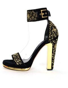 Alexander McQueen Black Velvet & Gold Sequin Sandals Sz 39 NEW