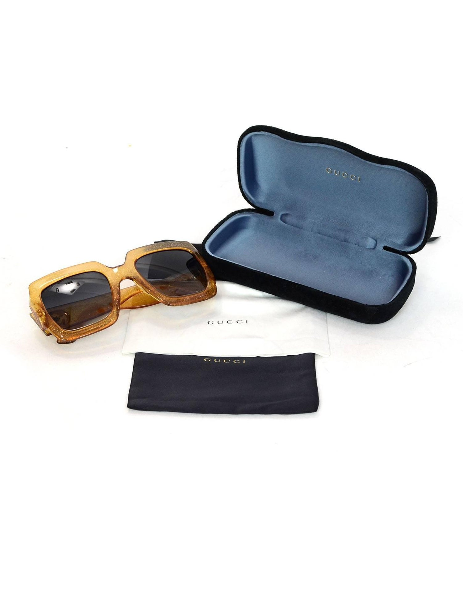 612f58eaaec61 Gucci Gold Glitter Acetate Square Frame Sunglasses with Case For Sale at  1stdibs