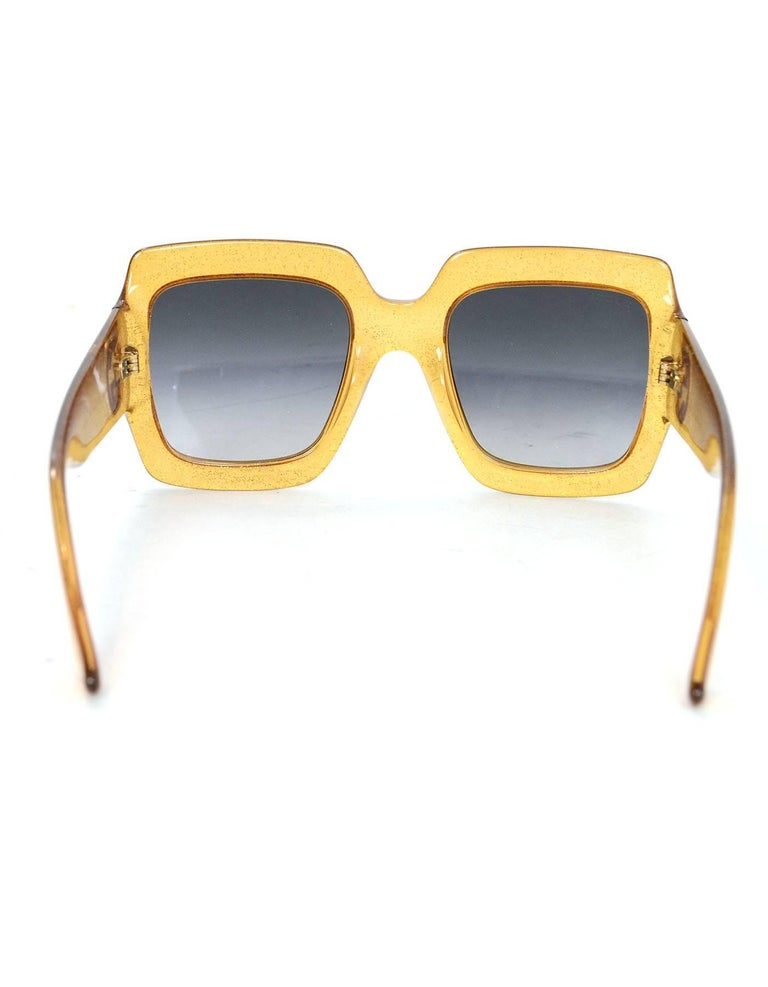 d17ee1a5f4f7e Women s Gucci Gold Glitter Acetate Square Frame Sunglasses with Case For  Sale