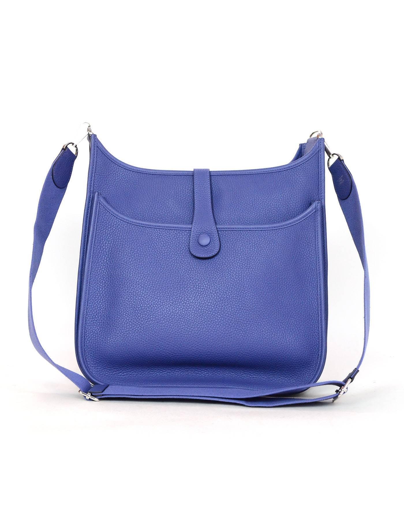 bbacd3407e6d ... hot hermes blue bleu brighton evelyne iii 33 gm messenger bag 2018 in  excellent condition for ...
