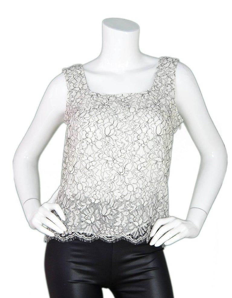 5075191544b97 Chanel Black and White Lace Top Sz FR40 For Sale at 1stdibs