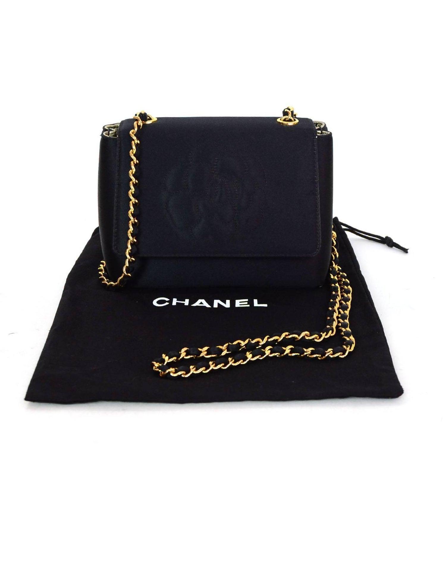 564e3ab57e86 Chanel  90s Vintage Black Satin Mini Camelia Flap Crossbody Bag For Sale at  1stdibs