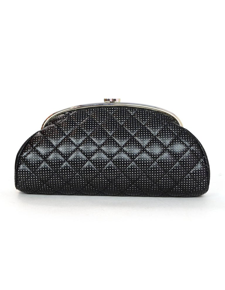 e806b70a291f Chanel Black   White Quilted Perforated Leather Timeless Clutch Bag For Sale