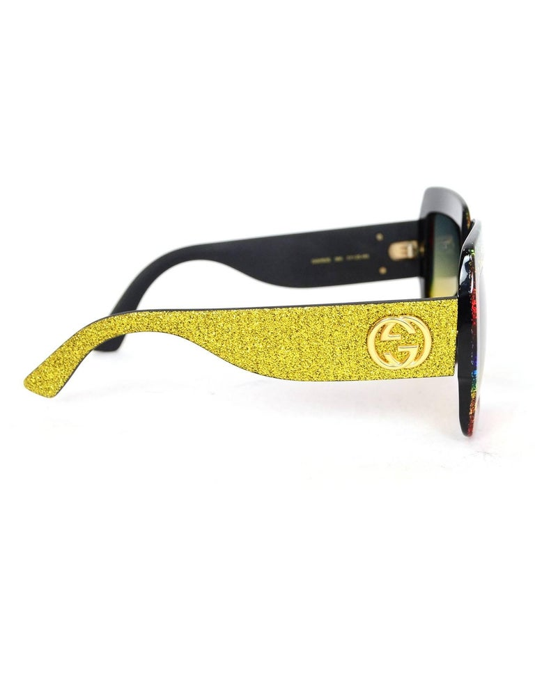 acc956e386790 Gucci  18 Rainbow Glitter Square Frame Sunglasses with Case In Excellent  Condition For Sale In